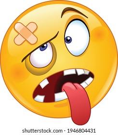 Beaten or knocked out emoji emoticon