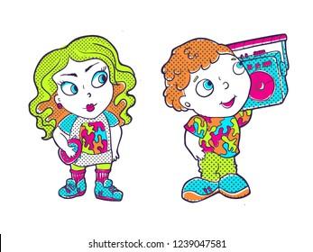 Beatiful Girl Boy Fashion Patches Cartoon Stock Vector Royalty Free