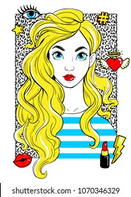 Beatiful girl with fashion patches in cartoon 80s-90s comic style. T-Shirt Design and Printing, clothes, bags, posters, invitations, cards, leaflets etc. Vector hand drawn illustration.