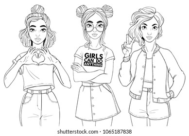 Beatiful girls isolated on white background. T-Shirt Design and Printing, clothes, bags, posters, invitations, cards, leaflets etc. Vector hand drawn illustration.
