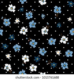 Beatiful softy Vector seamless pattern wild flower mix on modern polka dots black and white