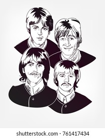the beatles britain pop group vector sketch illustration