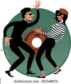 Beatnik couple dancing, vinyl record on the background, vector cartoon, EPS 8