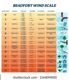 Beaufort wind scale vector illustration. Labeled air energy strength scheme. Educational meteorology characteristic diagram with division system to separate breeze from gales, storms and hurricanes.