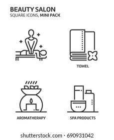 Beauity salon, square mini icon set. The illustrations are a vector, editable stroke, thirty-two by thirty-two matrix grid, pixel perfect files. Crafted with precision and eye for quality.