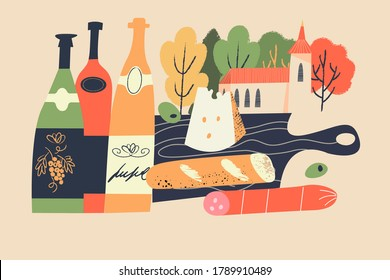 Beaujolais Nouveau. Festival of new wine in France. Wine and food. Vector illustration.