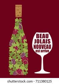 Beaujolais nouveau vector illustration
