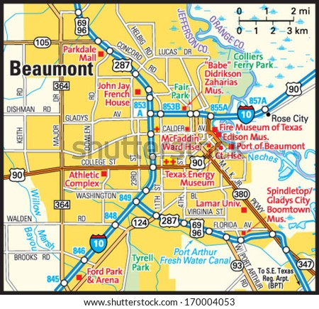 Map Of Beaumont Texas.Beaumont Texas Area Map Stock Vector Royalty Free 170004053