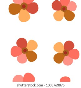 Beauteous Pattern with Flowers Living Coral color. For your design, textile, pattern fills, posters, cards, background etc. Elements are not cropped. Pattern under the mask. Vector.