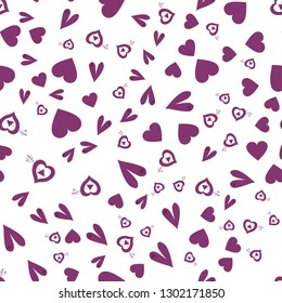Beauteous Pattern with Hearts Dark moderate pink color. Endless pattern can be used for design, textile,  pattern fills, posters, cards, web page background etc. Pattern under the mask. Vector.
