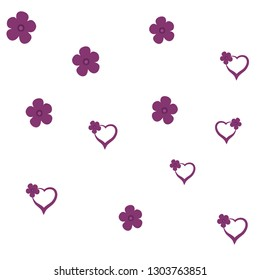 Beauteous Pattern with Hearts and Flowers Dark moderate pink color. For your design, textile, pattern fills, posters, cards, background etc. Elements are not cropped. Pattern under the mask. Vector.