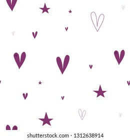Beauteous Pattern with Hearts and Stars Dark moderate pink color. This pattern can be used for design, textile,  pattern fills, posters, cards, web page background etc. Pattern under the mask. Vector.