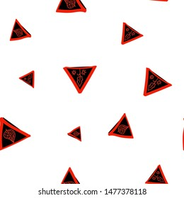 Beauteous Seamless pattern with Triangles Black and Vivid red color. Can be used for printing on packaging, bags, cups, laptop, box, etc. Pattern under the mask. Vector.