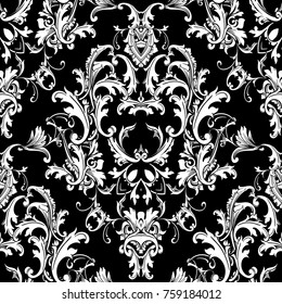 Beautful Baroque damask seamless pattern. Black white floral background wallpaper fabric with elegance flowers, scroll swirl leaves, antique ornaments in Baroque style. Luxury isolated design.