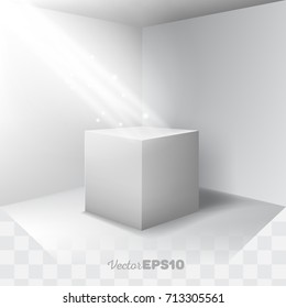 Beautiful 3d stand (podium, pedestal) in an empty room and spotlight effect