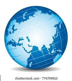 Beautiful 3d vector globe. Focus on Asia, Russia, China and India.