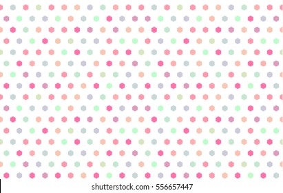 Beautiful abstract background bright and colorful, repeating colored hexagon in white backdrop. Seamless polka dots pattern. Colors: pink, fuchsia, blue, green, apricot, orange, light purple, violet.