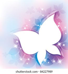 beautiful abstract background with white butterfly silhouette