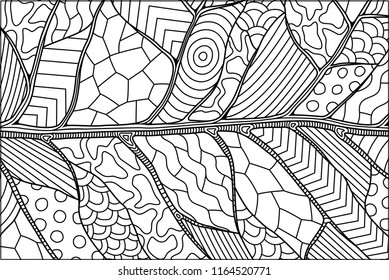 Beautiful abstract black and white linear pattern with decorative leaf texture for coloring book pages