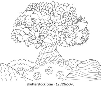 Beautiful abstract floral tree on hils for design element and coloring book. Vector illustration