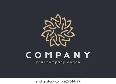 Beautiful Abstract flower swirl logo icon vector design. Elegant premium linear vector logotype symbol.