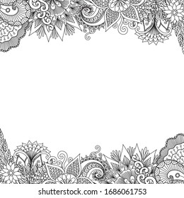 Beautiful abstract flowers frame set for print on product or adult coloring book, coloring page. Vector illustration