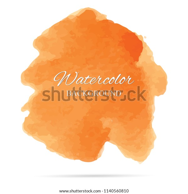 beautiful abstract orange watercolor art hand paint on white background,brush textures for logo.There is a place for text.Perfect stroke design for headline.luxury boutique Illustrations.