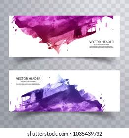 Beautiful abstract paint brush colorful watercolor header set vector