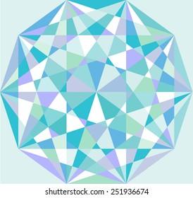 Beautiful abstract pattern. Decagon. Beauty polygonal pattern. Geometric backdrop. Gem crystal texture. Blue topaz