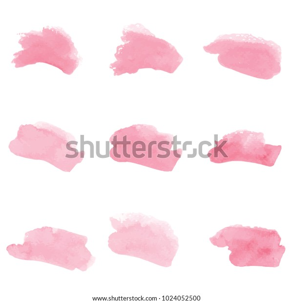 beautiful abstract pink watercolor art hand paint on white background,brush textures for logo.There is a place for text.Perfect stroke design for headline.luxury boutique Illustrations.