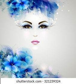 Beautiful abstract women with abstract design natural floral elements