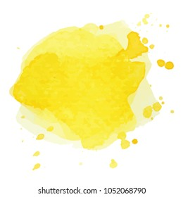 beautiful abstract yellow watercolor art hand paint on white background,brush textures for logo.There is a place for text.Perfect stroke design for headline.luxury boutique Illustrations.