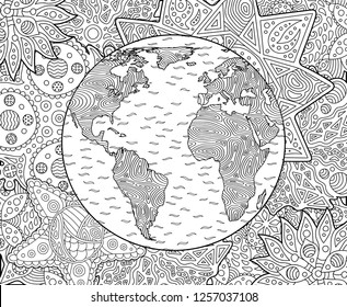 Beautiful adult coloring book page with stylized planet earth