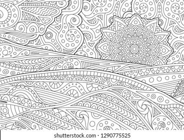 Beautiful adult coloring book page with stylized landscape