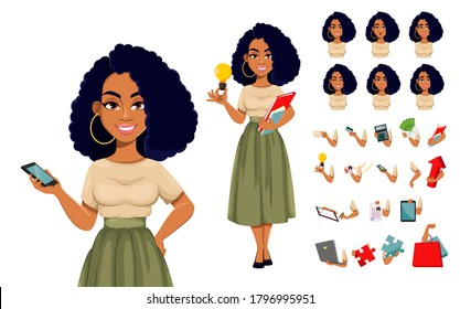 Beautiful African American business woman having a rest, pack of body parts, emotions and things. Cute African-American businesswoman cartoon character. Vector illustration