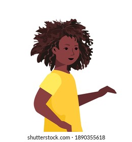 beautiful african american girl cute child female cartoon character portrait vector illustration
