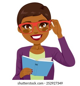 Beautiful African American girl holding glasses and reading book happy smiling looking at front