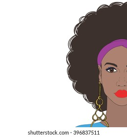 Beautiful African American woman with curly hair and gold earring. Colorful dress and kerchief. Vector