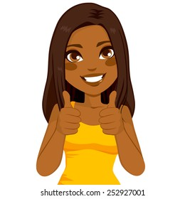 Beautiful African American woman happy smiling making thumbs up sign with both hands