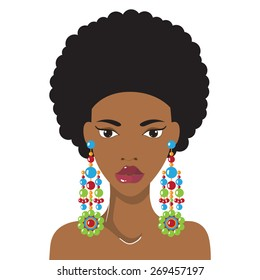Beautiful African American woman with lovely hairstyle and earrings. Fashion model hand drawn design element,banner template,cartoon,female character.Vector Illustration