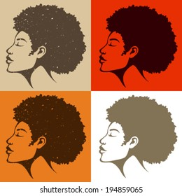 beautiful African American woman with natural hair in grungy or clean look