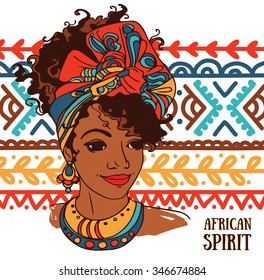 "beautiful African American woman on beautiful ornament, ""african spirit"" poster, vector illustration"