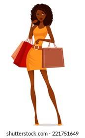 beautiful African American woman shopping