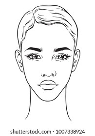 Beautiful african american woman with short haircut portrait isolated on white background. Face chart Makeup Artist Blank Template. Vector illustration.