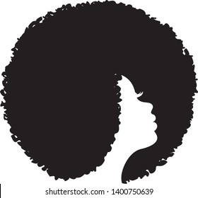 Beautiful African American Woman, Silhouette Profile in Black, Curly Hair.