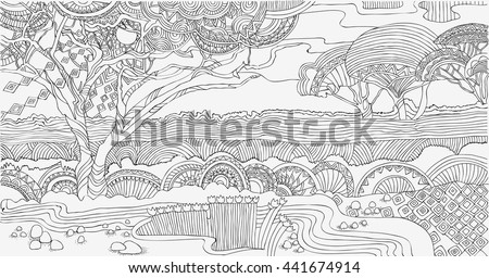 Beautiful African Landscape Coloring PagesAfrica