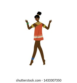Beautiful African Woman, Aboriginal Girl Dressed in Bright Traditional Tribal Clothing and Ethnic Jewelry Vector Illustration