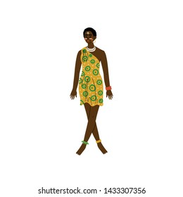 Beautiful African Woman, Aboriginal Girl Dressed in Modern Bright Sgirt Dress and Ethnic Jewelry Vector Illustration