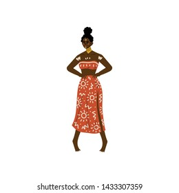 Beautiful African Woman, Aboriginal Girl Dressed in Bright Traditional Ethnic Clothing and Jewelry Vector Illustration