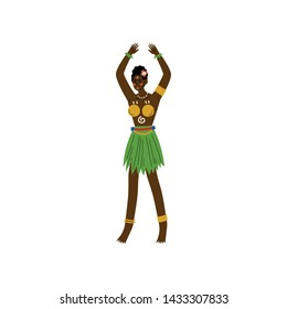 Beautiful African Woman, Aboriginal Girl Dressed in Bright Traditional Tribal Ethnic Clothing Vector Illustration